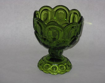 Vintage green glass candy dish pedestal bowl