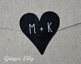Personalised Wedding Stickers - Small Heart with Initials - Black with White Print
