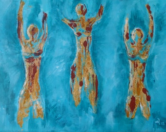 "Original Abstract Acrylic Painting on Canvas ""The Dancers"" 12 x 16 "" Blue Modern Art Women Yoga"