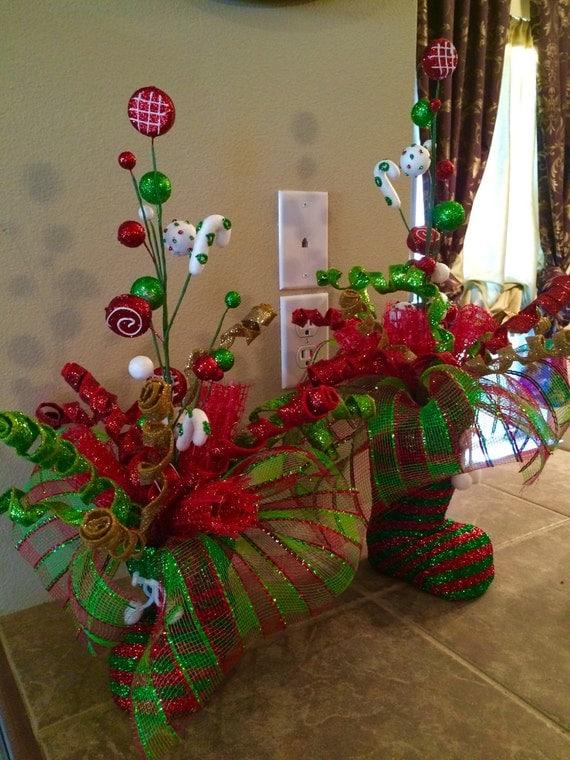 Items similar to christmas santa boot decoration table