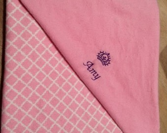 Pink flannel personalized blanket