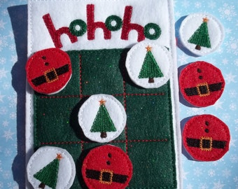 Christmas Stocking Stuffer Tic Tac Toe Game Ho Ho Ho with Santa and Christmas Tree playing Pieces Pocket in Rear for storing the pieces