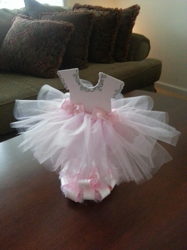 Double sided light pink tutu dress centerpiece silver