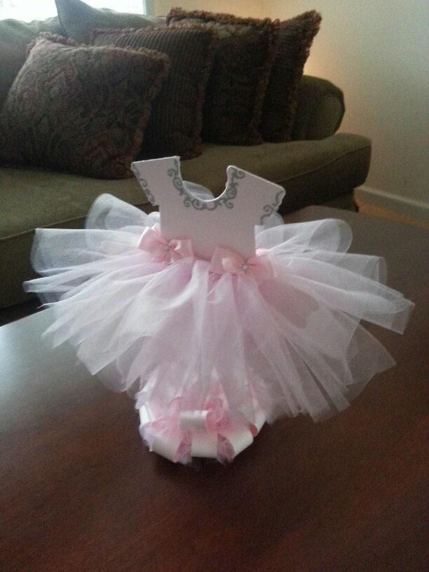 Double sided light pink tutu dress centerpiece silver