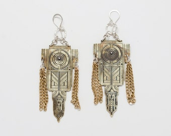 Large brass Tribune Statement Earrings with chain fringe