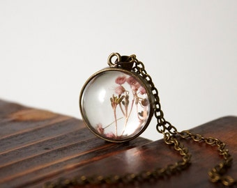 Handmade dried flowers in glass ball Necklace with chain, ready to ship