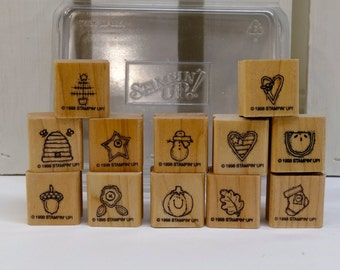 Stampin' Up! Wood Mounted Rubber Stamps-Bitty Stamps-Never Used