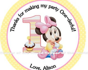 12 Personalized Disney yellow baby Minnie Mouse Personalized first Birthday Party Favor Thank You Tags or Stickers You choose