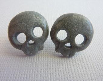 Silver Skull Stud Earrings, Sparkle, Shimmer, Polymer Clay Skull Post Earrings, Nickel Free Posts, Halloween Skulls, Silver Skeleton Skulls