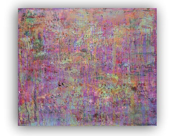 Abstract painting, wall art, contemporary art, purple, violet, pink, green, blue.