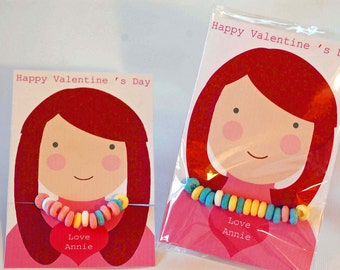 Candy Necklace Valentine's Day Card, Red Hair Girls, INSTANT DOWNLOAD, Printable Valentine, Editable Custom Valentine, personalized card