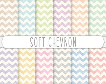Baby Chevron Digital Paper for Girl or Boy - Pastel Linen Texture Kids Craft Background Art - Cream Pink Tan Blue Light Purple Mint Orange