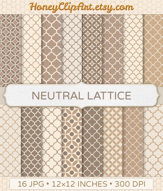 Neutral Trellis Wallpaper: Neutral Quatrefoil Digital Paper Taupe And Brown By