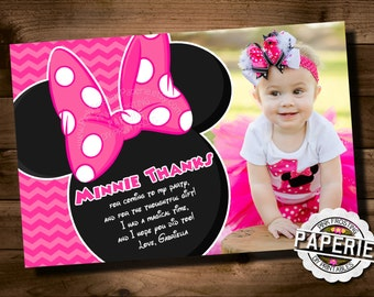 Pink Chevron MINNIE MOUSE Birthday Thank You CARD, Minnie Mouse Party Ideas, Minnie Photo Invitation, Pink Frosting Paperie
