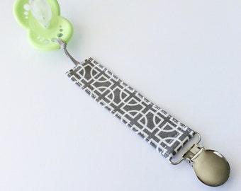 Pacifier Clip- gray, geometric, binky clip, paci clip, grey