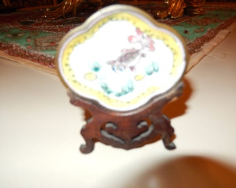 CHINA ENAMEL DISH with Wood Stand