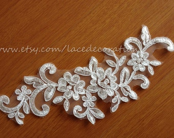SALES!! Sell By Pair Alencon Lace Applique, Bridal Lace Applique, Ivory Lace Applique, Guipure Alencon Lace HY001
