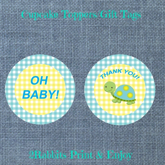 turtle themed boy baby shower cupcake toppers gift tags printable