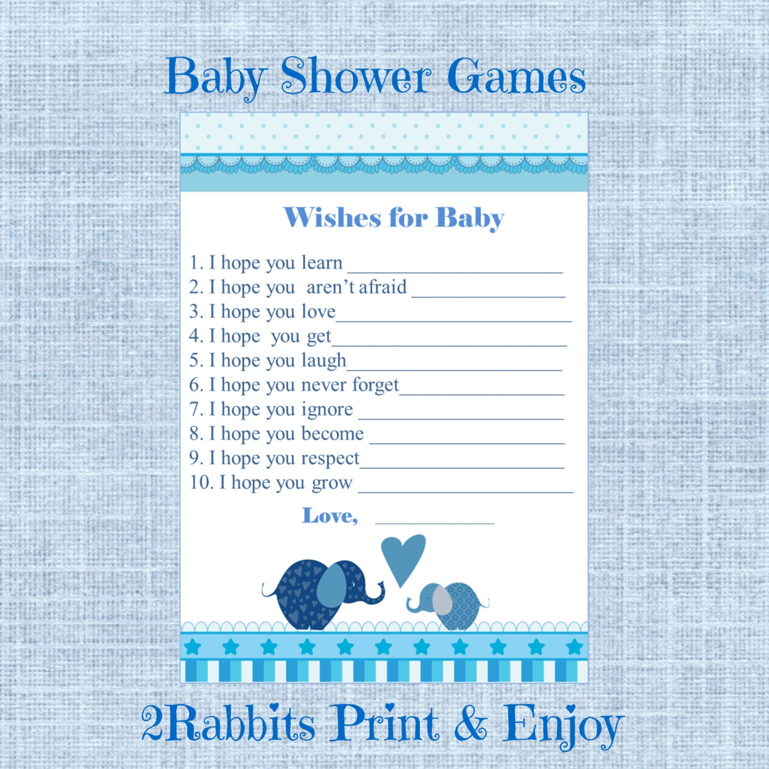 Elephant Boy Baby Shower Wishes for Baby Cards Elephant Baby