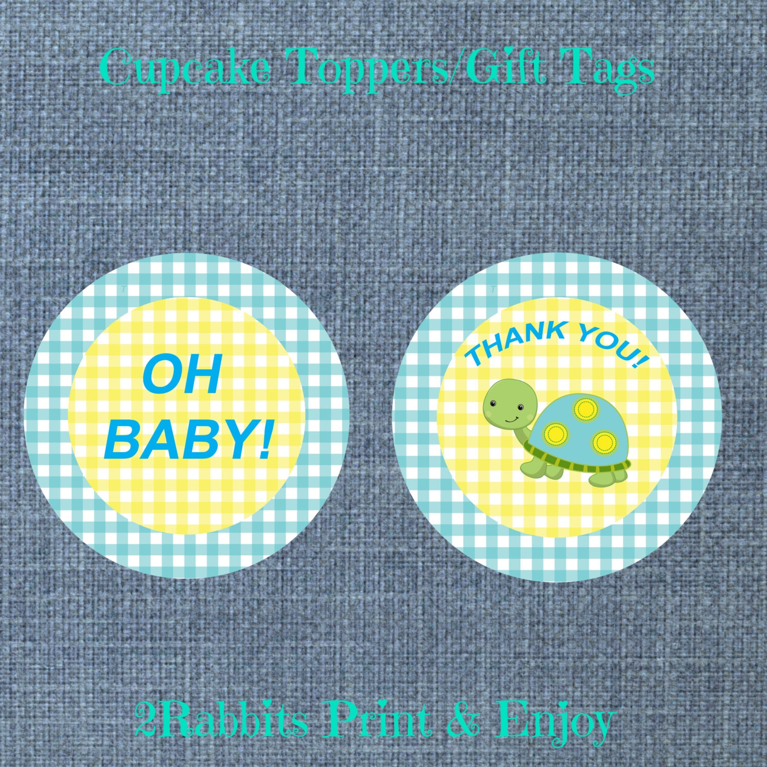 turtle themed boy baby shower cupcake toppers gift tags