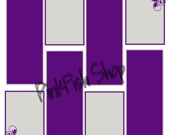 """12"""" x 12"""" Digital Photo Booth  Guest Book Pages in Purple and Silver"""