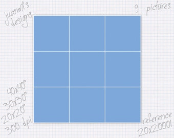 Photo collage template 20x20 30x30 40x40 inches (9 pictures) ref 20x20001