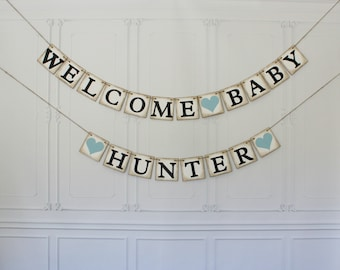 Baby Shower Banner, Welcome Baby Banner Rustic Vintage Shabby Chic Sign