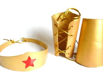 Wonder Woman Leather Headband, Wrist Cuffs, Belt Set