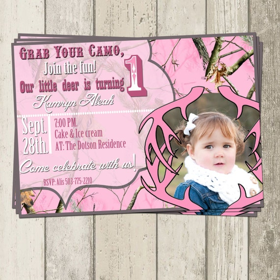 Real Tree Pink Camo Birthday Party Invitation By
