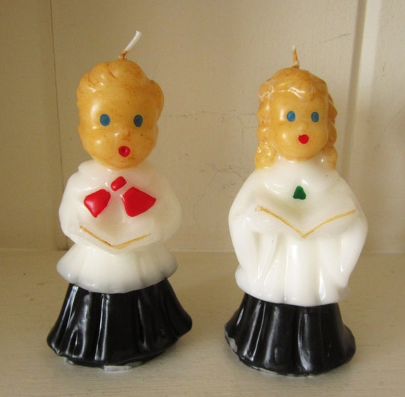 Vintage Ceramic Christmas Carolers Choir Boy And Girl: Vintage Collectible Large Gurley Christmas Caroler Choir Boy