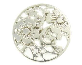Flower Metal Buttons - Flower Vine Openwork Silver Metal Shank Buttons - 18mm - 11/16 inch - 6 pcs