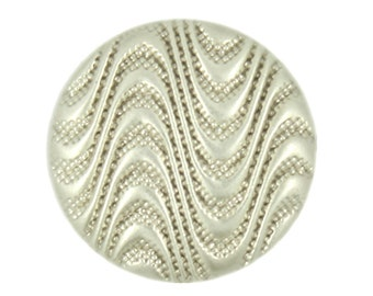 Metal Buttons - Light Champagne Ocean Waves Metal Shank Buttons - 15mm - 5/8 inch - 6 pcs