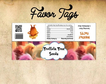 Lorax Truffula Tree Seeds Favor Tags