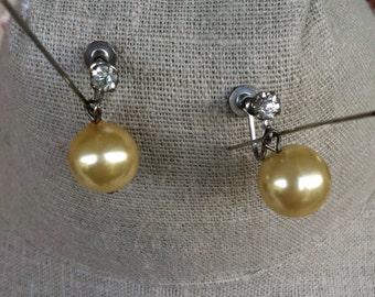Vintage Glass Pearl and Rhinestone Drop Earrings; Pale Yellow/screw back