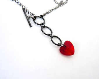 Red heart necklace, front toggle clasp necklace Valentine's day gift gunmetal jewelry gothic jewelry red necklace goth jewelry goth necklace