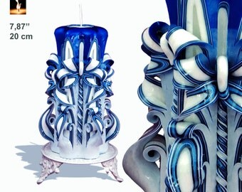 Candle, Carved Candle, Large candle, unique gift, Blue&White candle, BESTSELLER