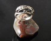 Sterling Silver Wolf ring, Wildlife, Coyote Stalking Wolf Ring