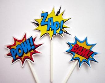 Superhero Cupcake Toppers - Superhero Bursts Cupcake Toppers, Superhero Mini Cupcake Toppers