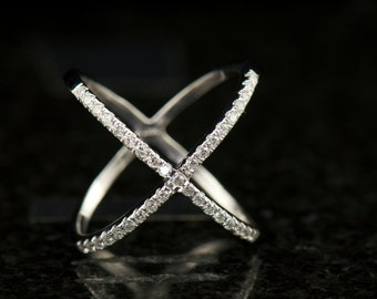 Mila - Diamond Fashion Ring in White Gold, Round Brilliant Cut, Criss Cross Design, Half Eternity, Right Hand Ring, Free Shipping