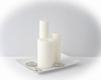 White candles, minimalist candles, a set of three soy pillar candles, unscented ecofriendly candles, wedding candles