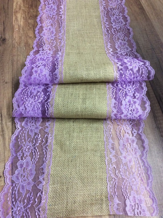 4ft 10ft burlap lace table runner lavender by for 10 foot table runner