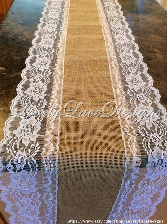 Burlap lace table runner white ivory lace 5ft 10ft long x for 10 foot table runner