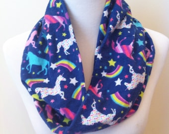 Unicorn Infinity Scarf, Unicorn Scarf, Flannel, Rainbow, Shooting Star, Navy Blue, Galaxy