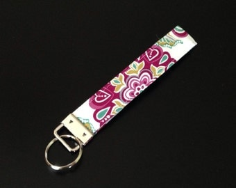 Purple and Teal Fabric Key Fob
