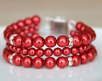Bridesmaid Jewelry Bracelet, Red Pearl Bridal Jewelry Bracelet, Pearl Jewellery, Wedding Jewellery, Bridesmaid gift art. 186 Ardenza