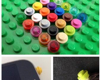 Lego, phone, accessory, charm, headphone jack, dust plug, fun, funky, retro.