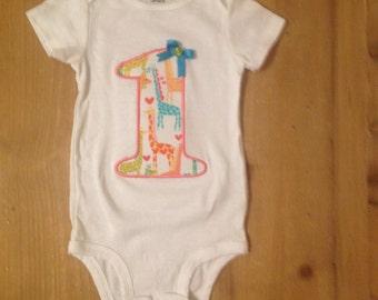 Giraffe Love Birthday Shirt or Baby Bodysuit