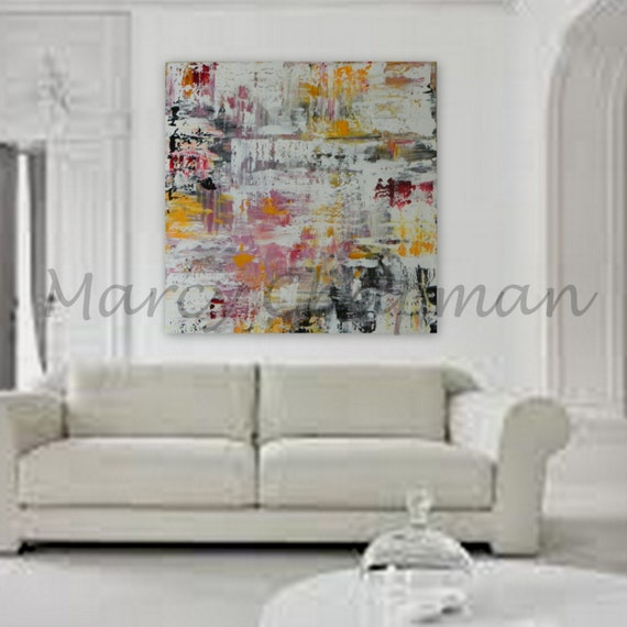 "XXL, XL, Large, Huge Abstract Painting 48"" x 48"" on 1.5"" wood frame ready to hang ~Modern colors"