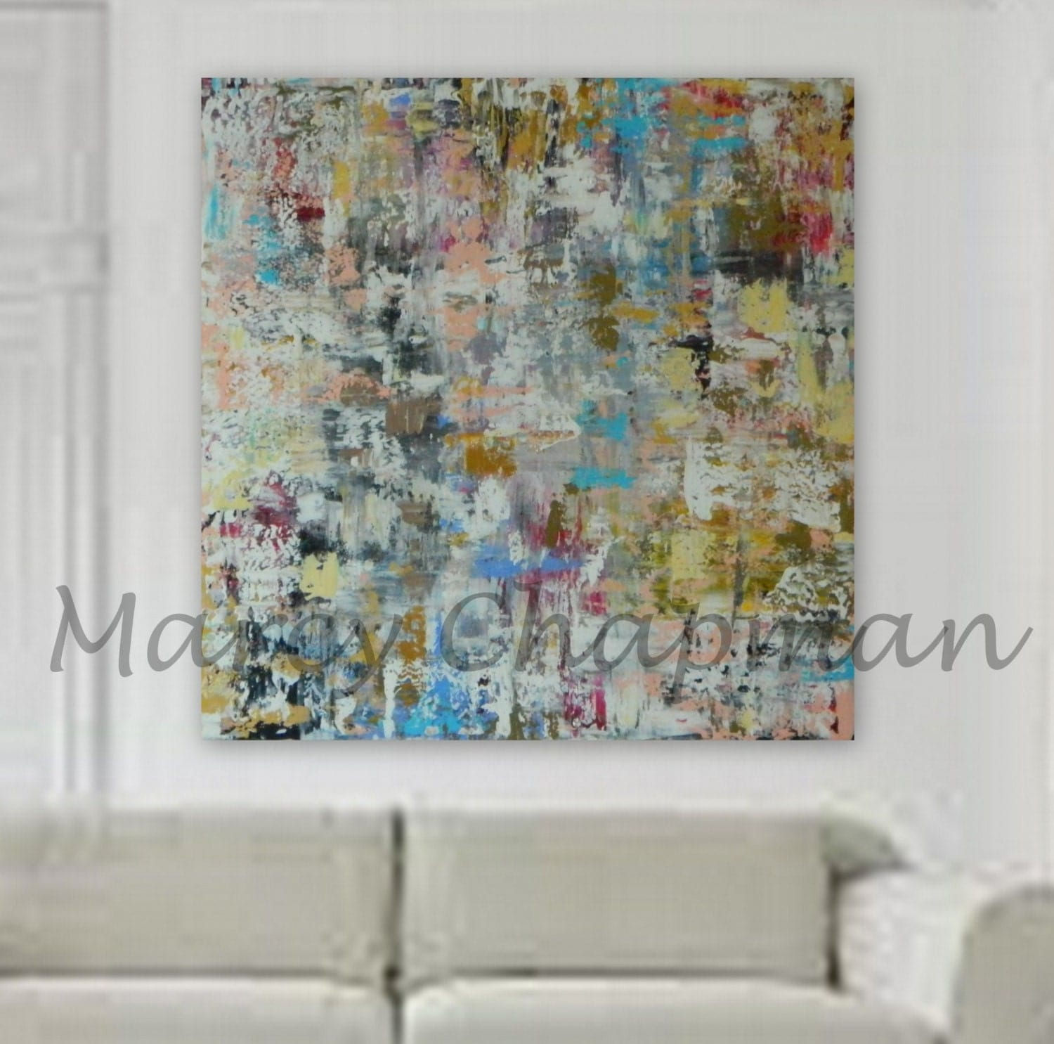 xl large huge abstract painting 46 x 46 unstretched canvas painting modern contemporary wall. Black Bedroom Furniture Sets. Home Design Ideas
