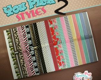Set of 2 Printed FOE Headbands, Pattern Elastic Headbands with Clip Loop, Interchangeable Headbands, Pick Styles & Sizes, Clip Pocket